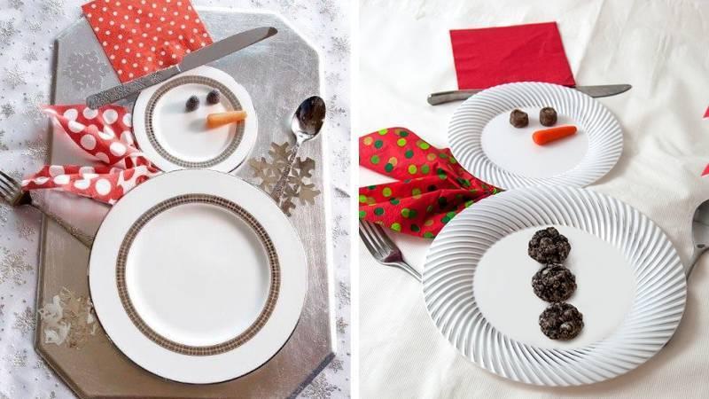 Тарелки в виде снеговиков