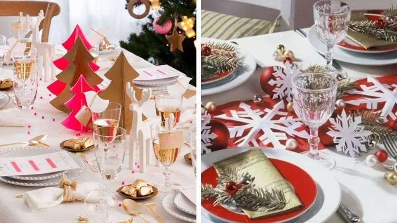Бумажные елочки и снежинки для стола