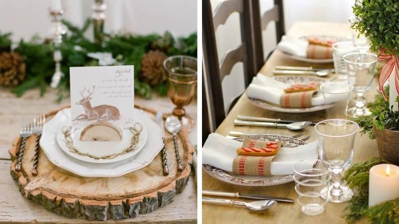 Деревенский стиль в оформлении стола на Новый год