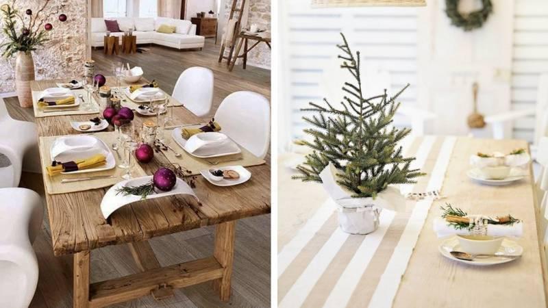 Эко стиль оформления новогоднего стола
